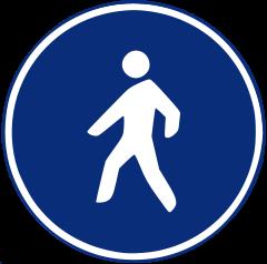 Señal de tráfico de camino reservado para peatones
